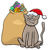 cat with Christmas presents cartoon