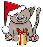 cat with Xmas present cartoon