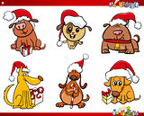dog characters on Christmas cartoon set