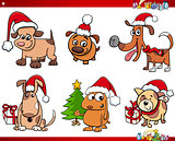 cartoon dog characters on Christmas set