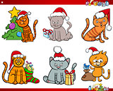 cat characters on Christmas cartoon set