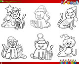 cats on Christmas set coloring book