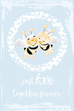Retro card - bees in love