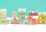 Urban Winter Landscape, Snowy Road,