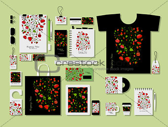Corporate flat mock-up template, floral design