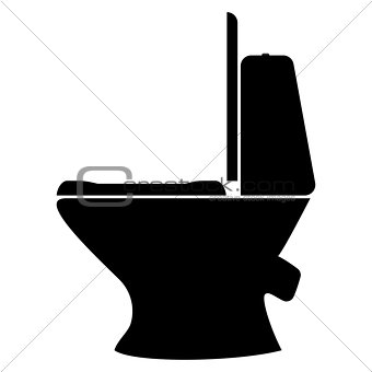 Toilet bowl  the black color icon .
