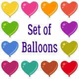Holiday Heart Shaped Balloons Set