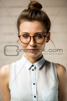 Beautiful hipster girl outdoor portrait.