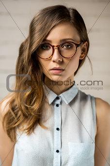 Beautiful hipster girl outdoor portrait.