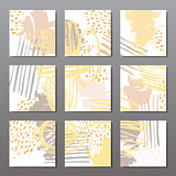 Modern brush vector postcard template
