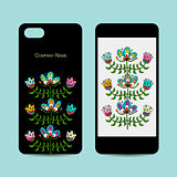 Mobile phone design, folk style floral background