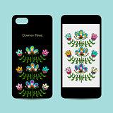 Mobile phone design, folk style floral background