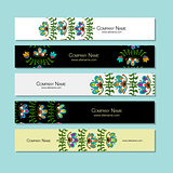 Banners design, folk style floral background