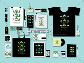 Corporate flat mock-up template, folk style floral design