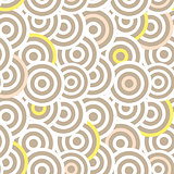 Overlapping striped circles seamless vector pattern.