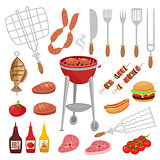 Bbq barbecue isolated elements set with outdoor grill rig bottles of sauce raw food and flatware vector illustration