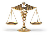 Medical caduceus symbol as scales. Concept of medicine and justi