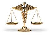 Medical caduceus symbol as scales. Concept of medicine and justi