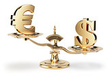 Scale with symbols of currencies euro and US dollar isolated on white background
