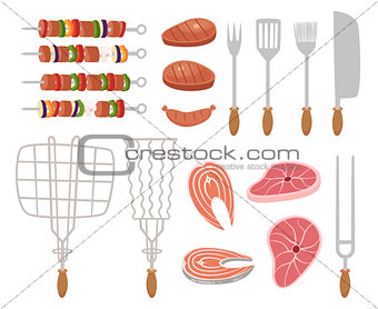 Grill, barbecue icons. set of elements - chef, kitchen tools, suitcase, ketchup, charcoal, bottle of wine, apron, sausage, BBQ, skewer, skewers, knife, meat, sauce, picnic basket, bread