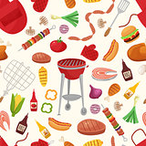 Barbecue and Grill for Home Party or Restaurant Background Pattern. Products and Kitchen Tools Flat Design Style Vector illustration