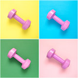 Collage of pink dumbbells