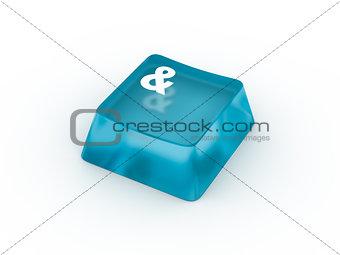 Ampersand symbol on keyboard button. 3D rendering