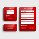 Collection red login and register web screen template