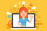 Vector illustration woman with idea lamp light bulb above head and index finger up in flat style