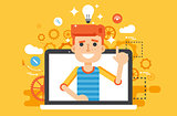 Vector illustration man with idea, lamp light bulb above head and index finger up in flat style