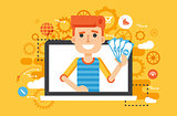 Vector illustration man money in hand online marketing management flat style in flat style