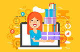 Vector illustration woman in laptop notebook with lot of shopping packing boxes of gifts in flat style