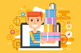 Vector illustration man in laptop notebook with lot of shopping packing boxes of gifts in flat style