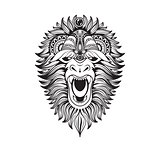 Vector illustration abstract isolated predatory unusual grin wild animal yeti decorated black linear doodle