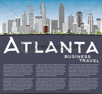 Atlanta Skyline with Gray Buildings, Blue Sky and Copy Space.