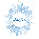 Outline Austin Skyline with Blue Buildings and Copy Space.