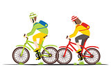 Bicycle Rider Couple in Flat Style.
