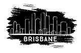 Brisbane Skyline Silhouette. Hand Drawn Sketch.