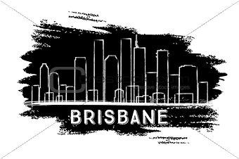 Brisbane Skyline Silhouette. Hand Drawn Sketch.
