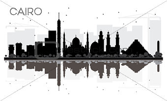 Cairo City skyline black and white silhouette with reflections.