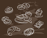 Vintage collection of desserts. Sketches hand-drawn with chalks on blackboard. Vector illustration.