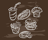 Collection of hand-drawn fast food on blackboard. Retro vintage style .