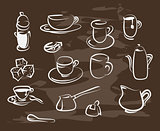 Collection of hand-drawn coffee on blackboard. Retro vintage style .