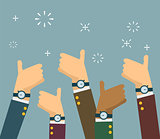 Cheering business people holding many thumbs up in flat style. vector illustration.