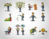 Set of Happy office man on white background . Vector