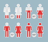 People Percentage Icons for infographic or presentation - vector Illustration