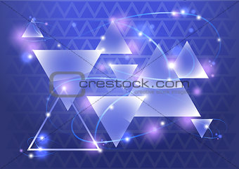 Abstract triangle background with bokeh and flares. Vector illustration.