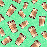 Seamless pattern with coffee takeaway on green background.