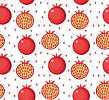 Pomegranate seamless pattern. Garnet fruit endless background, texture. Fruits background. Vector illustration.