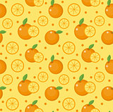 Orange seamless pattern. Mandarin citrus endless background, texture. Fruits background. Vector illustration.